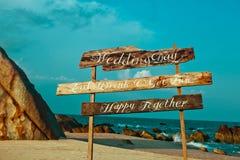È scritto sull'oceano di amore di parola dell'etichetta Fotografia Stock