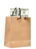 È soldi nel sacchetto Fotografie Stock Libere da Diritti