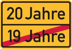 20ème anniversaire - Allemand de roadsign illustration de vecteur