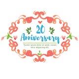 20ème anniversaire d'aquarelle Photographie stock
