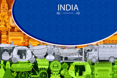 15ème August Independence de fond tricolore d'Inde illustration de vecteur