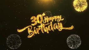 30ème célébration de joyeux anniversaire, souhaits, saluant le texte sur le feu d'artifice d'or illustration stock
