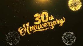 30ème célébration heureuse d'anniversaire, souhaits, saluant le texte sur le feu d'artifice d'or illustration stock