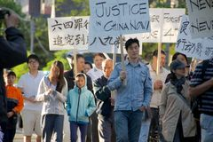 24ème cérémonie de commémoration d'année de massacre de Place Tiananmen Images stock