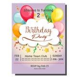 2ème carte d'invitation de fête d'anniversaire avec le petit gâteau de baie illustration de vecteur