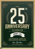 25ème conception de célébration d'anniversaire d'années sur le vert illustration stock
