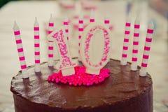 10ème décoration de gâteau d'anniversaire Images stock