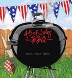4ème de l'arrière-cour d'invitation de BBQ de juillet illustration stock