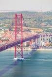 25ème de la passerelle d'avril à Lisbonne Panorama Image stock