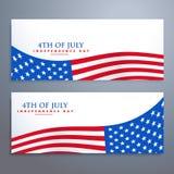 4ème des bannières de drapeau de juillet Images stock