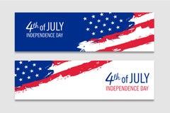 4ème des bannières de juillet avec le drapeau américain Images stock