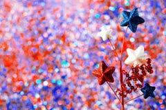 4ème des décorations de juillet sur le fond de scintillement Photo libre de droits