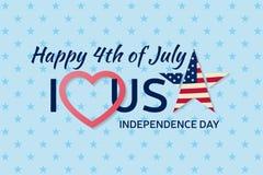 4ème du fond de juillet Quatrième de carte postale de classique de félicitation de juillet Carte de voeux heureuse de Jour de la  illustration de vecteur