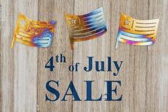 4ème du message de vente de juillet Photographie stock