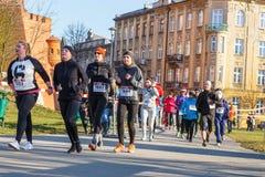 12ème Eve Race de nouvelle année à Cracovie Photo libre de droits