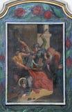 7ème Gares de la croix, automnes de Jésus la deuxième fois Photo libre de droits