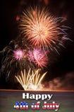 4ème heureux de Jully avec des feux d'artifice Photo stock