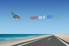4ème heureux de la bannière et de l'avion de juillet Photographie stock