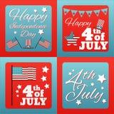 4ème heureux de la carte Etats-Unis d'Amérique de juillet Photo stock