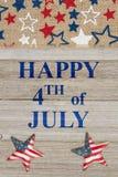 4ème heureux de la salutation de juillet Images stock