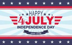 4ème heureux de vecteur du fond de juillet Jour de la Déclaration d'Indépendance des Etats-Unis Calibre pour le quatrième de juil Photographie stock libre de droits