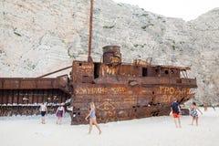 7ème le septembre, 2015, Zakynthos, Grèce Vue de plage de Navaggio Détails de naufrage Photographie stock