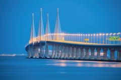2ème pont de Penang en heure bleue Images libres de droits