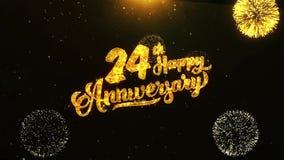 24ème salutation heureuse des textes d'anniversaire, souhaits, célébration, fond d'invitation banque de vidéos