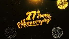 27ème salutation heureuse des textes d'anniversaire, souhaits, célébration, fond d'invitation clips vidéos