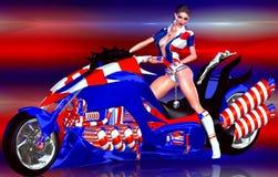 4ème sexy de la moto de juillet chic Étoiles et pistes Images libres de droits