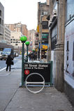 28ème station de métro de rue Images libres de droits