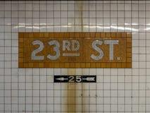 23ème station de métro de rue Photographie stock