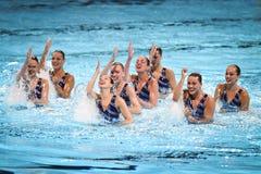 15ème syncro de championnat du monde de Fina nageant l'équipe technique Image libre de droits