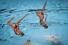 15ème syncro de championnat du monde de Fina nageant l'équipe technique Photo stock