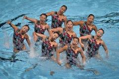15ème Syncro de championnat du monde de Fina nageant l'équipe technique Photographie stock libre de droits