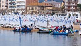 29ème trophée international 2018, 13ème tasse d'optimiste de Palamos de nations, le 16 février 2018, ville Palamos, Espagne Photos stock