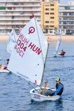 29ème trophée international 2018, 13ème tasse d'optimiste de Palamos de nations, le 16 février 2018, ville Palamos, Espagne Image libre de droits
