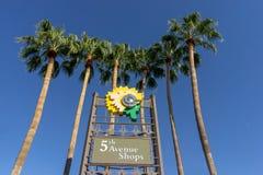 5èmes boutiques d'avenue, Scottsdale du centre, Az images stock