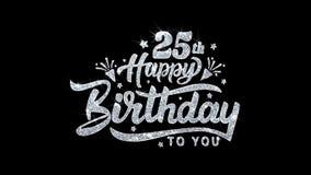 25èmes salutations de particules de souhaits des textes de clignotement de joyeux anniversaire, invitation, fond de célébration illustration libre de droits