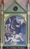11èmes stations de la croix, crucifixion Images libres de droits