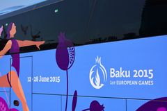 1ère affiche européenne de jeux, Bakou Image stock