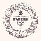 面包店与剪影面包店,酥皮点心,甜点,点心,蛋糕,松饼,小圆面包,蛋白杏仁饼干的背景框架 与手拉的模板 库存例证