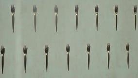 静物画,叉子,美丽的叉子,黑白叉子,利器,黑白照片,拼贴画,纹理,金属 股票录像