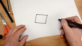 顶视图,建筑师的手画房子的方形的基地,题目的理想的英尺长度例如大厦整修 影视素材