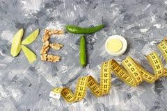 题字Keto做了坚果、鸡蛋和鲕梨 能转化为酮的饮食概念 图库摄影