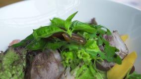 食品组成关闭 菜沙拉用肉和调味汁在白色板材 烹调食物概念 Vegetarin沙拉 股票录像