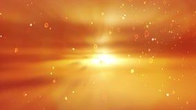 风景日落 在橙色背景的微粒 皇族释放例证