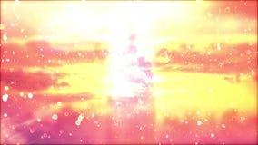 风景日落 在被覆盖的背景的微粒 向量例证