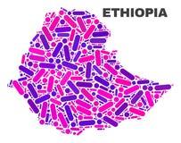 马赛克小点和线埃塞俄比亚地图  向量例证