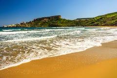 马耳他里维埃拉海滩,Mgarr 库存照片